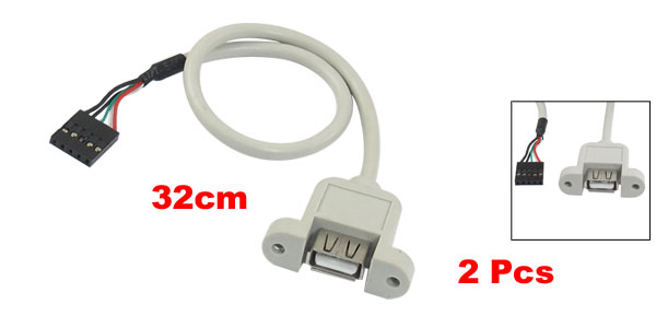 2 Pcs Panel Mount USB Female to 5 Pin Connector Extension Cable 32cm Length