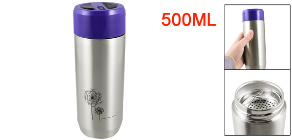Dandelion Pattern Purple Plastic Cap Silver Tone Vacuum Flask Bottle Cup 500ml