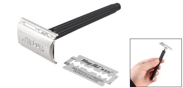 Black Plastic Nonslip Handle Silver Tone Safety Razor Shaver w Blade