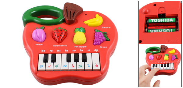 Red Plastic Apple Shape Fruit Pattern Electronic Organ Music Toy for Child