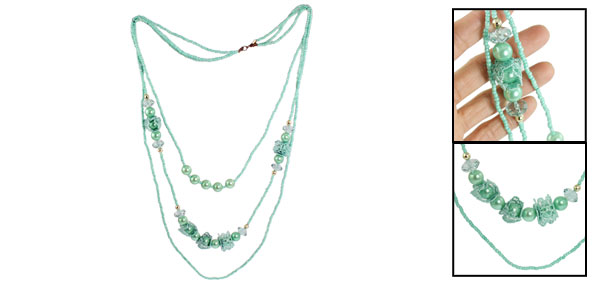 Lady 3 Layers Faux Pearl Lace Decor Beaded Sweater Necklace Light Teal Green
