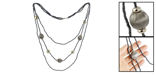 Women 3 Layers Gold Tone Gray Plastic Beads Dark Blue Beaded Sweater Necklace