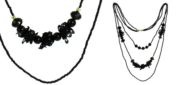 Ladies 3 Layers Black Plastic Round Beads Lace Decor Beaded Sweater Necklace