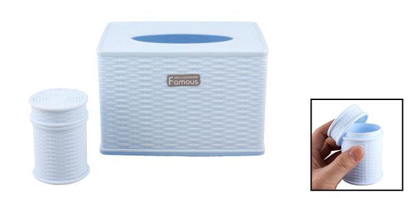Light Blue Plastic Woven Pattern Tissue Paper Box Case Cover w Toothpick Holder