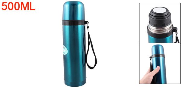 Home Office Teal Blue Stainless Steel Vacuum Flask Water Bottle Cup 500ml