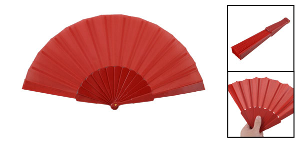 Women Men Red Plastic Frame Fabric Dance Foldable Hand Fan Gift