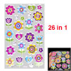 Colorful Flowers Pattern Self Adhesive Home Wall Decor Stickers 26 in 1