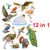 3D Goose Parrot Pattern Self Adhesive Home Wall Decor Stickers 12 in 1