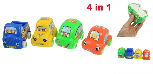 4 in 1 Assorted Color Lovely Girls Boys Pattern Pull Back Cartoon Toy Set