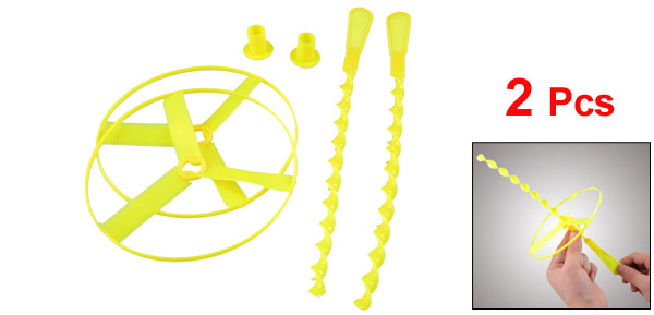 Kids Yellow Hand Spin Twisted Spinning Shooter Flying Disc Toy 2 Pieces
