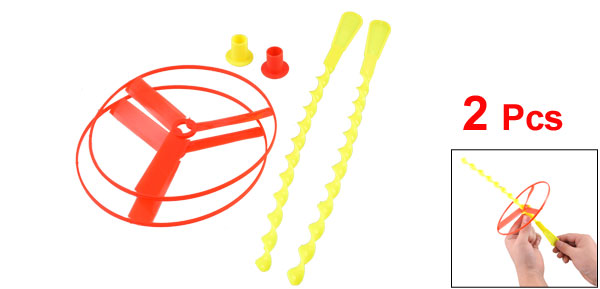 Kids Red Yellow Plastic Hand Spin Twisted Shooter Spinning Flying Disc Toy 2 Pcs