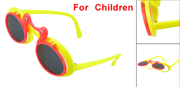Child Plastic Single Bridge Full Frame Duck Decor Flip up Sunglasses Red Yellow