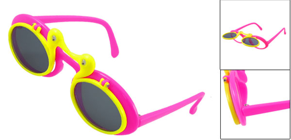 Fuchsia Yellow Plastic Full Rim Double Ducks Flip up Sunglasses for Child