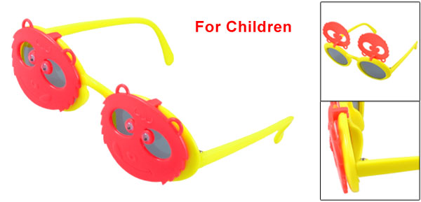 Plastic Full Frame Yellow Watermelon Red Pandas Flip up Sunglasses for Kids