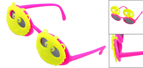 Plastic Full Frame Yellow Fuchsia Double Panda Flip up Sunglasses for Child