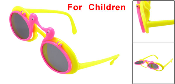 Children Oval Lens Flip up Plastic Full Frame Sunglasses Hot Pink Yellow