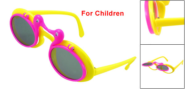Fuchsia Yellow Plastic Full Rim Colored Lens Flip up Sunglasses for Children