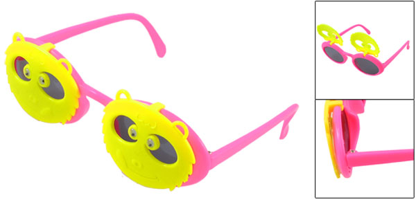 Plastic Hot Pink Yellow Single Bridge Double Panda Flip up Sunglasses for Child