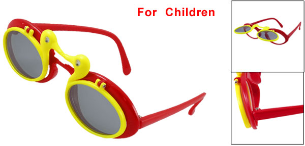 Child Plastic Maroon Yellow Single Bridge Double Ducks Flip up Sunglasses