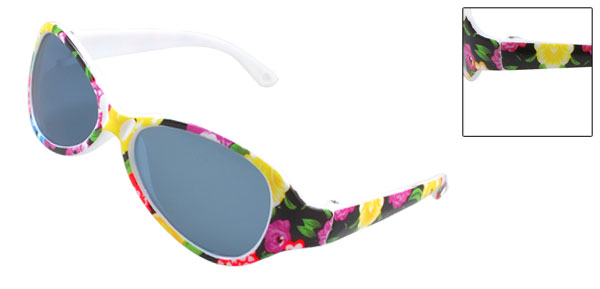 Kids Plastic Colorful Floral Arms Teardrop Blue Lens Full Rim Sunglasses