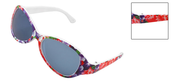 Outdoor Red Blue Plastic Floral Print Full Rim Sunglasses for Children