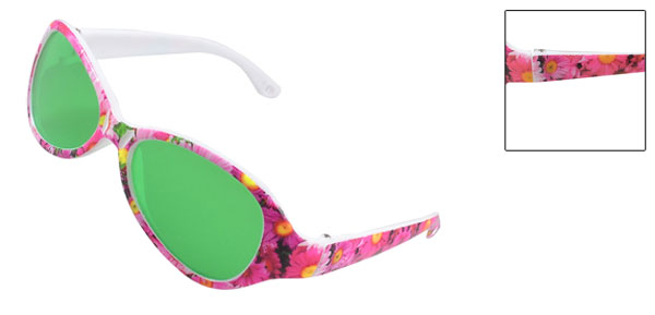 Children Raindrop Green Lens Plastic Multicolor Flowers Full Frame Sunglasses