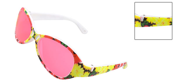 Child Colorful Plastic Floral Arms Teardrop Pink Lens Single Bridge Sunglasses