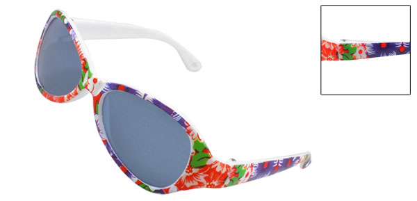 Children Beach Colored Lens Plastic Purple Red Flowers Arms Single Bridge Sunglasses