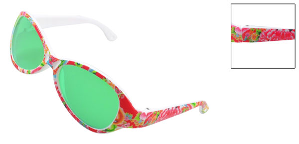 Children Waterdrop Green Lens Plastic Flowers Print Single Bridge Sunglasses