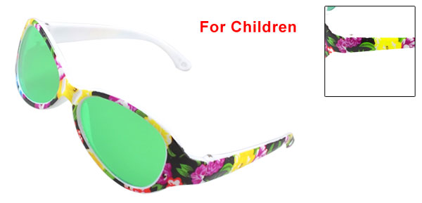 Child Outdoor Purple Yellow Flowers Plastic Full Frame Sun Glasses Sunglasses