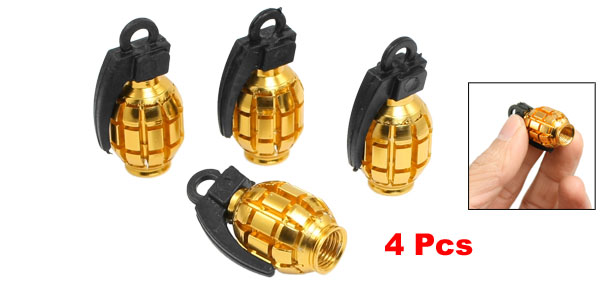 4 Pcs Car Alloy Grenade Shaped Tire Valve Cap Gold Tone