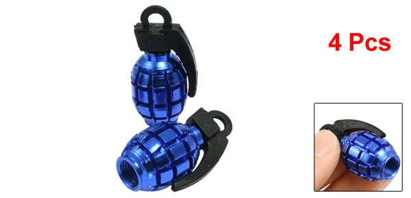 4 Pcs Car Alloy Grenade Shaped Tire Valve Cap Cover Blue