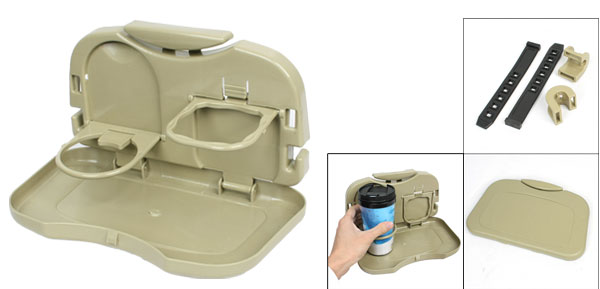 Truck Car Foldable Food Meal Drink Tray Holder Dinner Table Desk Khaki