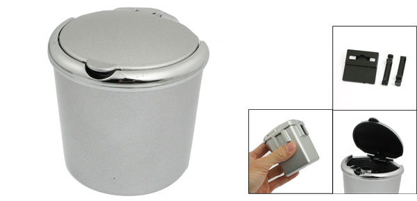 Car Truck Plastic Single Hole Smokeless Cigarette Ashtray Holder Silver Tone