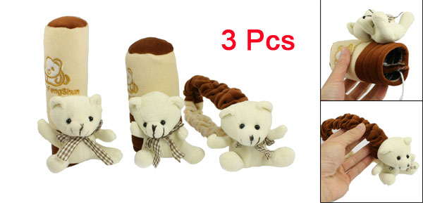 Bear Decor Car Handbrake Shift Knob Rearciew Mirror Cover Case Set 3 in 1