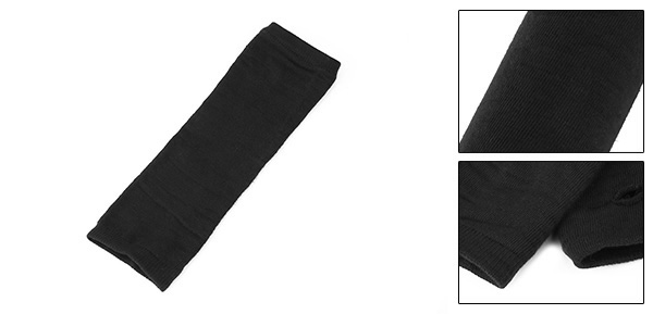 Women Black Knitted Acrylic Fingerless Long Gloves Arm Warmers Pair
