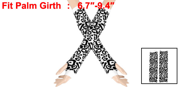 Lady Fingerless Knitted Black White Leopard Pattern Long Gloves Arm Warmers Pair