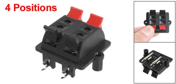 Horizontal Mounted 4 Position 4 Pin Speaker Terminals Connector Red Black