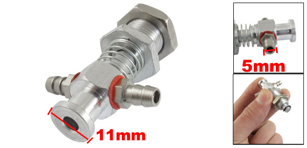 12mm x 11mm x 48mm Metal Tubular 3 Way Vacuum Cup Holder Connector VFIL-S