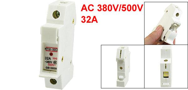 RT18-32 AC 380V/500V 32A 10x38mm Cylindrical Single Pole Fuse Holder Base