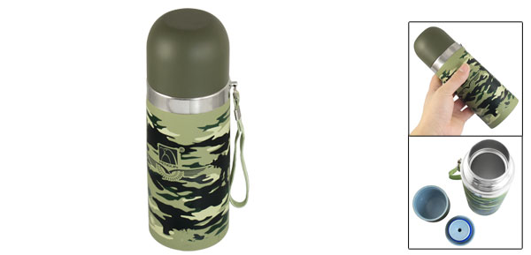 350ml Capacity Camouflage Pattern Drink Cup Vacuum Water Bottle