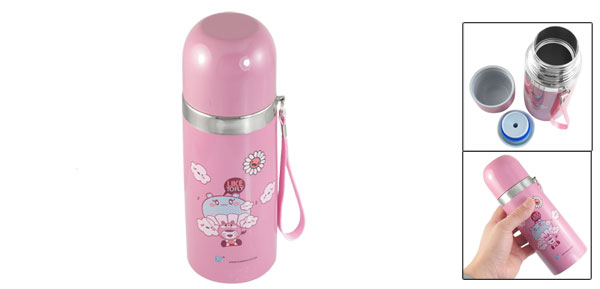 Travel Stainless Steel Vacuum Thermos Warm Cup Mug Bottle Pink 350ml