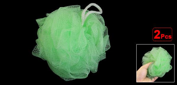 Bath Shower Body Exfoliate Puff Loop Mesh Net Ball Light Green 2 Pcs