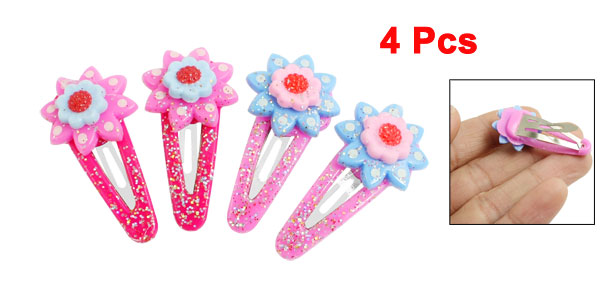 4 Pcs Fringe Bangs Clamps Powder Detail Floral Hairclips Barrettes Fuchsia Pink