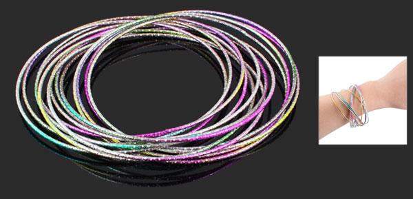 Women Colorful Metal Multi Layer Circle 12 Rings Bracelet