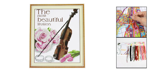 Violin Flowers Rings Pattern Stamped Cross Stitch Counted Gift Handmade Kit