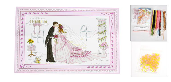 Handwork Stamped Cross Stitch Bride Groom Letters Wedding Pattern Design Counted Kit
