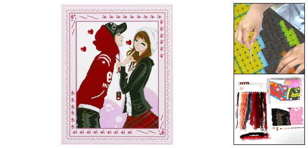 Woman Sweet Lovers Pattern Cross Stitch Counted Gift Handmade Kit