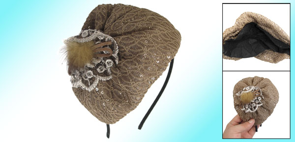 Women Flower Faux Fur Decoration Hair Band Headband Brown