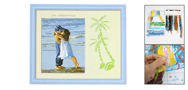 Handwork Cross Stitch Boy Girl Sea Pattern Design Counted Kit Blue